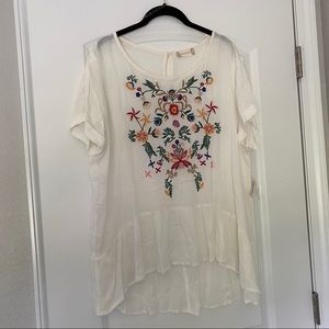 Altar'd State White Embroidered Tunic Top NWT